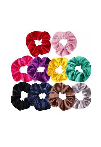 Glamorbit multi 10 Pieces Hair Tie Satin Scrunchies Set 04B3AACB05B4A1GS_1