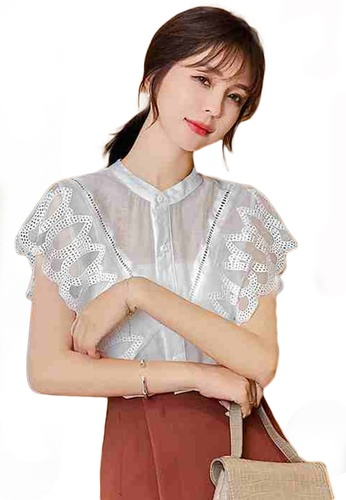 Sunnydaysweety white Chiffon Button-Down Short-Sleeved Top A21031910W B66F0AA07888C2GS_1
