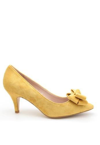 PRODUIT PARFAIT yellow Suede Bow Stiletto Heel Pumps B0867SH5FC3297GS_1