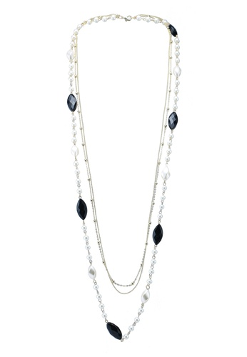 Red's Revenge black marquis gem long pearl necklace E98EEACD0415EAGS_1