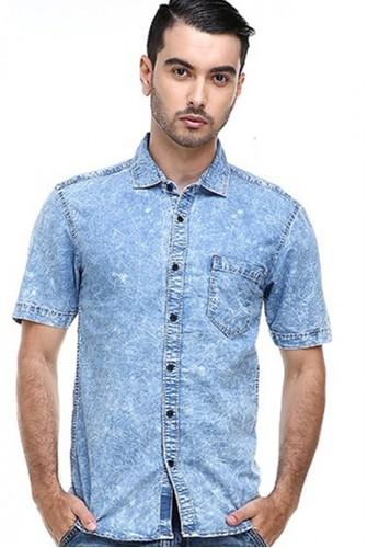 Hamlin blue Hamlin Dwan Shirt Kemeja Pria Jeans Lengan Pendek Kasual Formal Material Denim ORIGINAL A8962AA8169A95GS_1