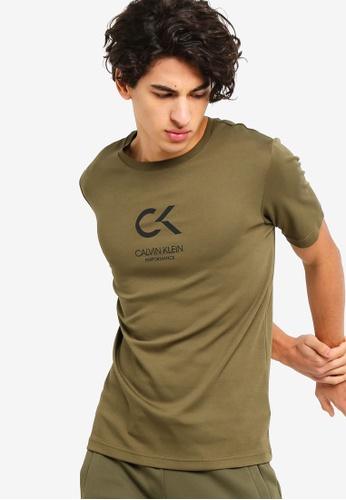 Calvin Klein 綠色 CK Performance Icon Short Sleeves Tee - Calvin Klein Performance DADF4AA2CB0C51GS_1