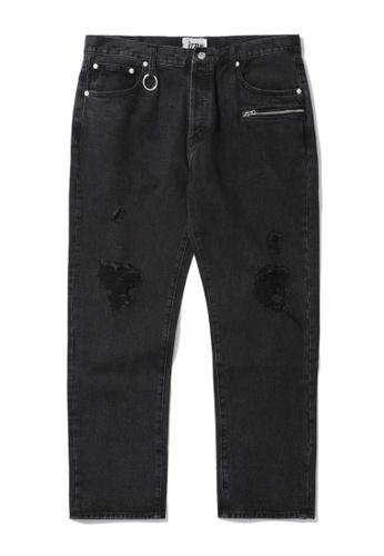 izzue black Ripped loose fit jeans 79E4CAAEB23E5EGS_1
