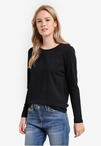 Calvin Klein black Institutional Long Sleeve Bonded Logo Tee - Calvin Klein Jeans BB07AAAC8531C3GS_1