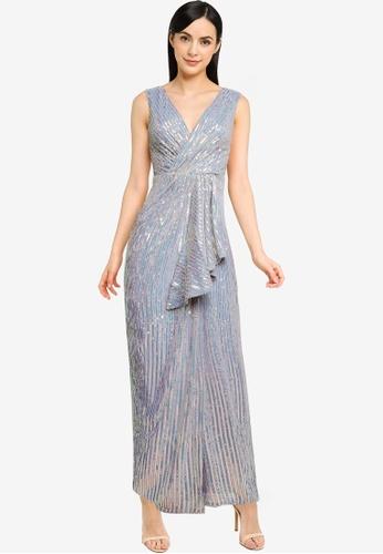 Goddiva silver Handkerchief Sequin Maxi Dress With Split E1196AAD352453GS_1