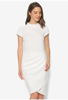 Drape Wrap Skirt Short Sleeve Dress