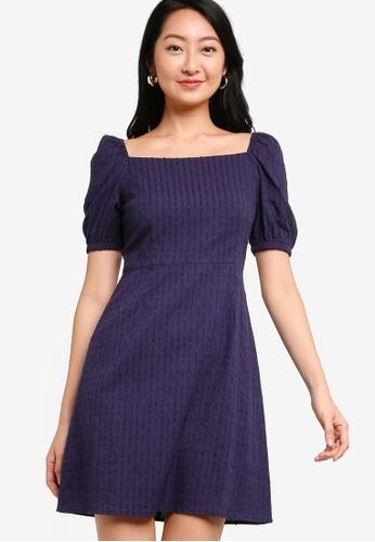 ZALORA BASICS navy Square Neck Eyelet Fit & Flare Dress 57E7DAABCD8102GS_1