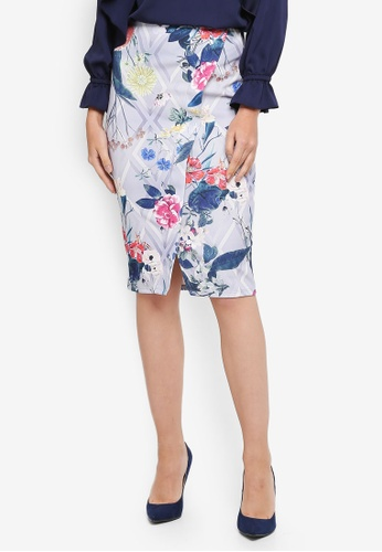 Dorothy Perkins grey Floral Pencil Skirt BE857AAA9DC917GS_1
