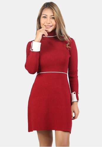 London Rag red Long Sleeve Knitted Bodycon Dress A7867AAD259B0EGS_1