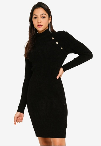 Guess black Guess Astrid High-Neck Dress Sweater with Front Buttons 58829AAD74242EGS_1