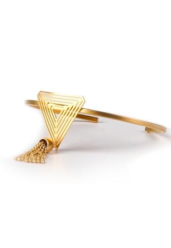 Gung Jewellery gold Tria Triangular Tassel Cuff in Matte Gold 40664AC051FA82GS_1