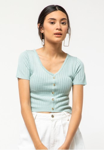 COLORBOX blue Short Sleeve Sweater With Button 0E79BAA991EC4BGS_1