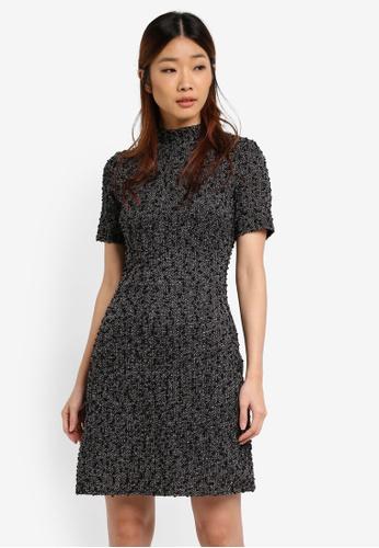WAREHOUSE black Mono Tweed Boucle Dress 11FC0AA6FAB8F5GS_1