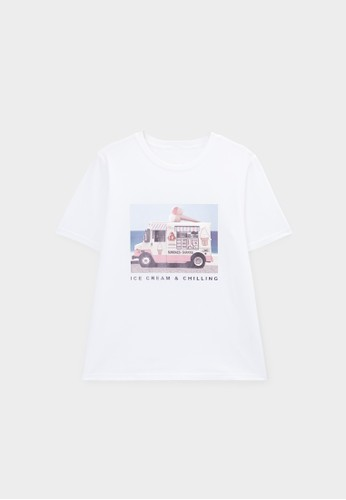 Pomelo white Ice Cream & Chilling Graphic Tee - White 4ECD7AACFC041CGS_1