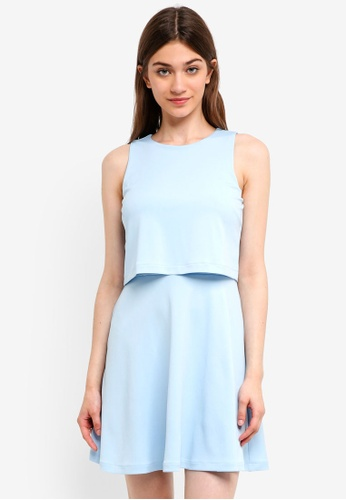 Something Borrowed blue Double Layer Fit And Flare Dress 4D92CAA85DE6F8GS_1