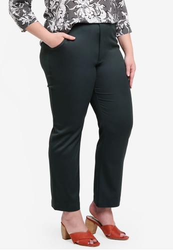Ex'otico green Plus Size Basic Trousers 4D081AAEBFBE52GS_1