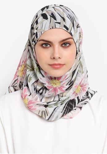 Ilham Echenta black and multi Mylia Hijab Tropicale Edition IL385AA0SPJKMY_1