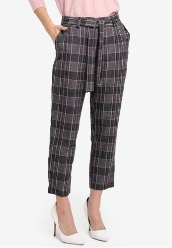 Dorothy Perkins grey Petite Tie Waist Ankle Grazer Trousers DO816AA0T04EMY_1