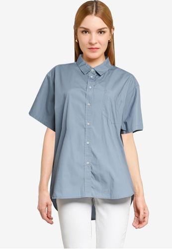 LOWRYS FARM blue Short Sleeves Buttoned Shirt 3BE0BAA715D40BGS_1