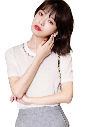 Sunnydaysweety white Korean Style Woolen Beaded Ultra-Thin Top A21031903W E4022AAF5BFA7EGS_1