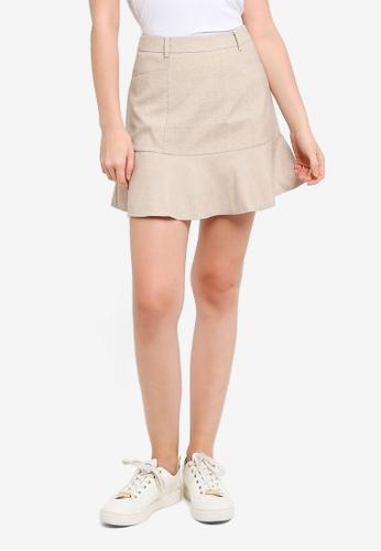 Hopeshow brown Plaid Ruffle A-Line Mini Skirt B614FAA6E446AFGS_1