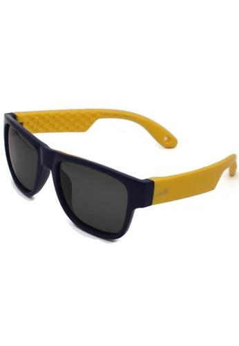 jojo blue Inner Checkered Print Wayfarer Polarized Sunglasses D6134KC1484CC0GS_1