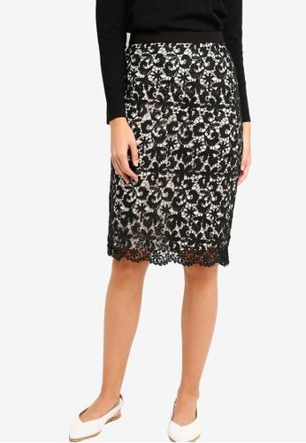 ZALORA black Lace Pencil Skirt 0A89FAA8CB3298GS_1