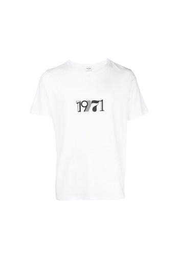 SAINT LAURENT white Saint Laurent 1971 Printed T-Shirt in White BC974AA86BDC82GS_1