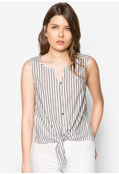 Knotted-Hem Cotton Top