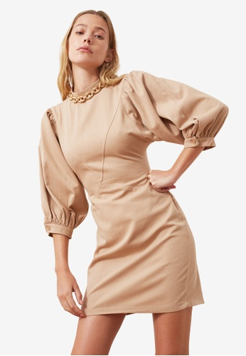 Trendyol beige Stand Collar Poplin Sleeve Dress E9C77AA8F6C9C7GS_1