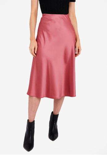 FORCAST pink Zuri Bias Cut Skirt 9A625AA190907BGS_1