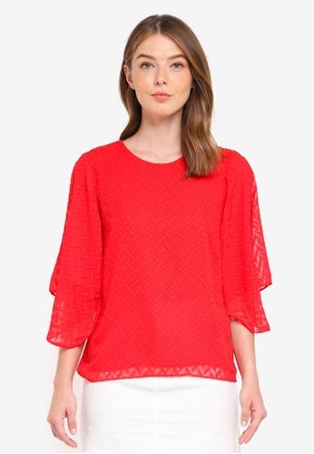 Y.A.S red Scarlet Half Sleeves Top 3B3CEAA899B6BAGS_1