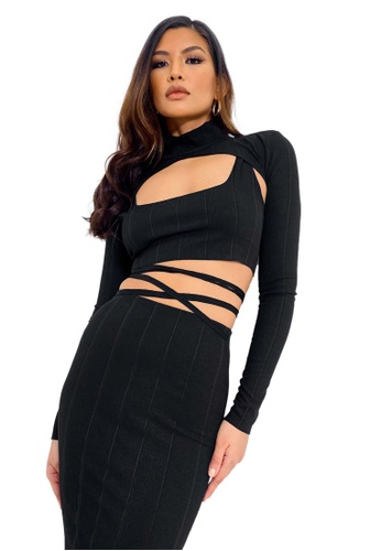MISSGUIDED black Cut Out Turtle Neck Crop Top 1BABDAA9DDEF28GS_1