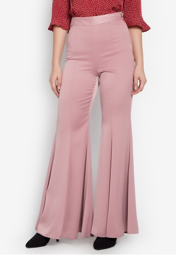 TOPSHOP pink Satin Super Flare Trousers TO099AA0KP4GPH_1
