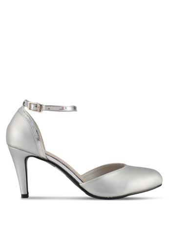 DMK silver Ankle Strap Pump Heels 50014SH1B25029GS_1