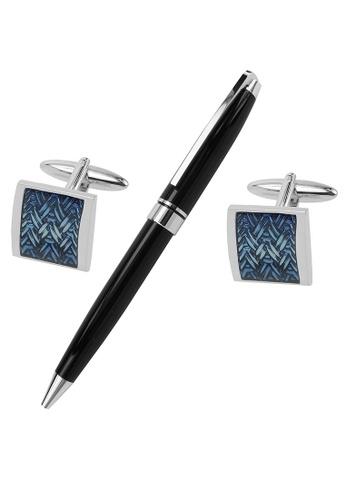 CUFF IT blue Blue Enamel Woven Cufflinks and Pen Set BED6EACBCADAA5GS_1