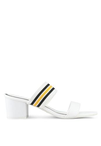 VINCCI white Stripe Slip On Heels DB02BSH493CA5AGS_1