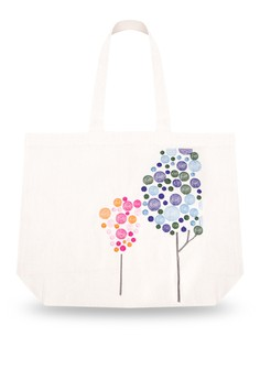 Textured Polka Dot Tree Embroidered Canvas Tote Bag
