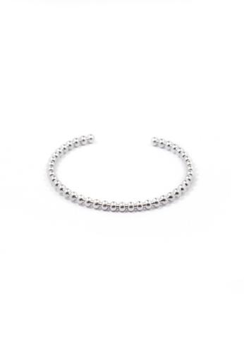SKEDA silver Beaded Open Metal Cuff Bangle E21FBACC64B25BGS_1