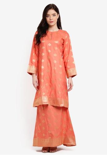 Baju Kurung Pahang Songket Tenun Asli from Kasih in Orange