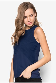 Pleated Detail Sleeveless Top