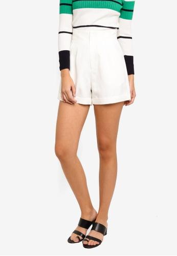 ZALORA white Folded Hem High Waisted Shorts 653D1AAC0957B6GS_1