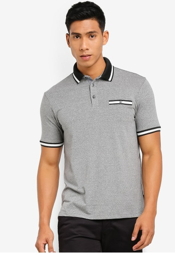 Burton Menswear London 灰色 Grey Textured Tipped Polo Shirt 4B463AAE23DDB7GS_1