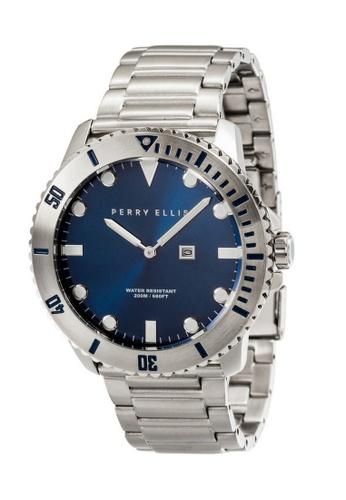 PERRY ELLIS blue Perry Ellis Deep Diver Men 46mm Quartz Stainless Steel Watch 02002-02 30044ACB127B67GS_1