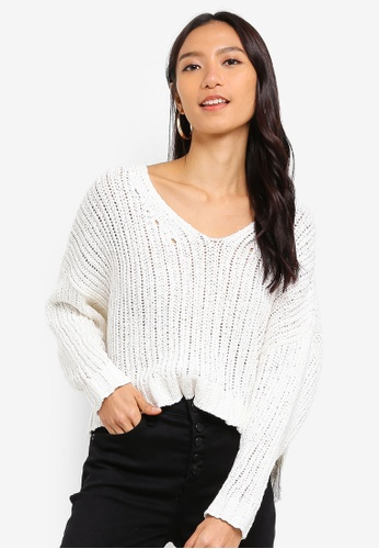 Cotton On white Cropped Open Knit Pullover 35F9FAA4840FE0GS_1