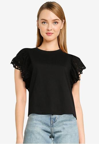 Urban Revivo black Broderie T-Shirt F6152AA5BE53EFGS_1