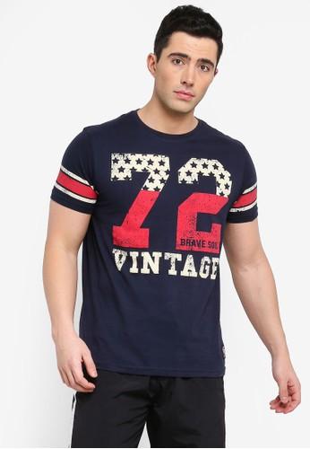 Brave Soul navy Ohio T-Shirt with Burnout Print E3BEFAA4D92319GS_1