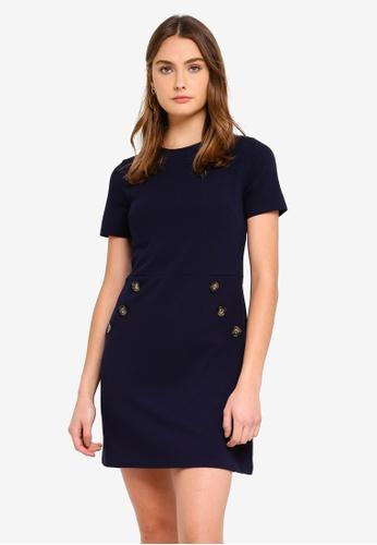 Dorothy Perkins 海軍藍色 Navy Button Shift Dress BA496AA3E110BCGS_1