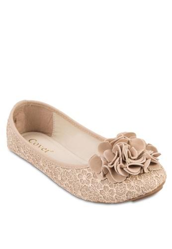 貼花zalora時尚購物網的koumi koumi蕾絲平底鞋, 女鞋, 鞋