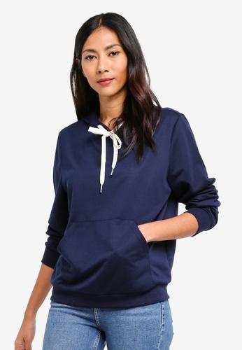 ZALORA BASICS navy Basic Long Sleeves Hoodie Sweatshirt 0B324AA467A4B2GS_1